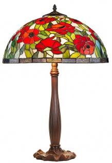 Casa Padrino Tiffany Tischleuchte Bronzefarben / Mehrfarbig Ø 40 x H. 64 cm - Handgefertigte Hockerleuchte aus 528 Teilen