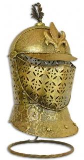Casa Padrino Metall Ritterhelm mit Ständer Antik Gold 21, 5 x 26 x H. 47 cm - Mittelalter Deko