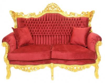 Casa Padrino Barock Wohnzimmer Set Bordeaux Samtstoff / Gold - 2er Sofa + 2 Sessel - Vorschau 2