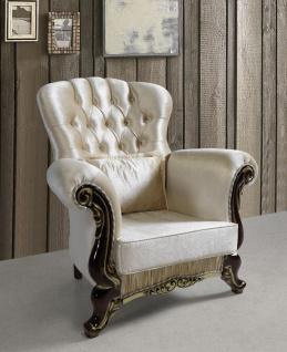 Casa Padrino Barock Sessel mit Glitzersteinen Champagnerfarben / Schwarz / Gold 112 x 85 x H. 112 cm - Edle Wohnzimmer Möbel im Barockstil