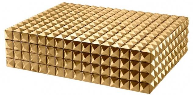 Casa Padrino Luxus Schmuckschatulle / Schmuckkasten mit Deckel Gold 40 x 30 x H. 10 cm - Luxus Accessoires