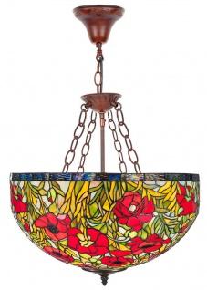 Casa Padrino Tiffany Hängeleuchte Mehrfarbig Ø 50 x H. 110 cm - Handgefertigte Tiffany Hängelampe