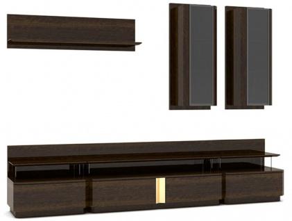 Casa Padrino Luxus Wohnzimmer TV Schrank Set Braun / Grau / Gold - 1 TV Schrank & 2 Hängeschränke & 1 Wandregal - Edles Wohnzimmer Möbel Set - Luxus Qualität