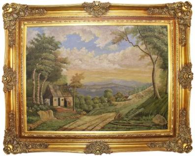 Casa Padrino Barock Ölgemälde Landschaft Mehrfarbig / Gold 160 x 10 x H. 130 cm - Handgemaltes Gemälde mit prunkvollem Rahmen im Barockstil - Wanddeko im Barockstil