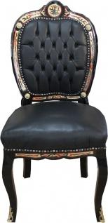 Casa Padrino Luxus Barock Stuhl mit Echleder Bezug 50 x 65 x H. 110 cm - Luxus Schreibtisch Stuhl