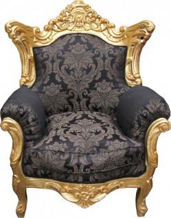 Casa Padrino Barock Sessel Al Capone Schwarz Muster / Gold - Rokoko Antik Stil Möbel