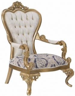 Casa Padrino Luxus Barock Sessel Blau / Weiß / Gold 89 x 94 x H. 122 cm - Wohnzimmer Möbel im Barockstil - Edel & Prunkvoll