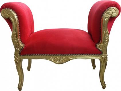 Casa Padrino Barock Schemel Hocker Rot / Gold - Sitzbank