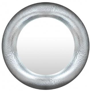 Casa Padrino Luxus Spiegel Silber Ø 120 cm - Runder Glasfaser Wandspiegel - Wohnzimmer Spiegel - Garderoben Spiegel - Luxus Kollektion