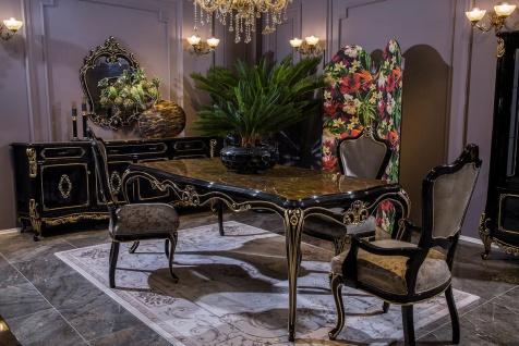 Casa Padrino Luxus Barock Esszimmer Set Silber / Schwarz / Gold - 1 Esstisch & 6 Esszimmerstühle - Prunkvolle Esszimmer Möbel im Barockstil