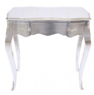 Casa Padrino Barock Konsolen Tisch Silber mit Schublade 80 x 40 cm - Möbel Antik Stil