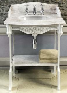 Casa Padrino Luxus Jugendstil Stand Waschtisch Weiß / Weiß mit Marmorplatte mit Spritzschutz hinten, seitlich und Ablage Barock Waschbecken Barockstil Antik Stil