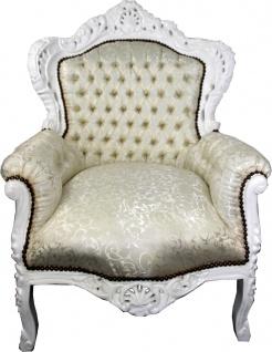 Casa Padrino Barock Sessel King Creme Muster / Weiß - Barock Möbel