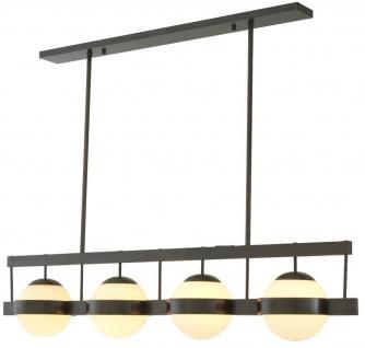Casa Padrino Luxus Kronleuchter Bronzefarben / Weiß 140 x 22 x H. 30 cm - Moderner Metall Kronleuchter mit runden Glas Lampenschirmen - Luxus Kollektion