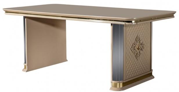 Casa Padrino Luxus Art Deco Esstisch Beige / Gold - Edler Massivholz Küchentisch - Art Deco Esszimmer Möbel