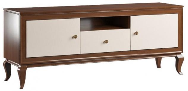 Casa Padrino Luxus Art Deco TV Schrank Dunkelbraun / Cremefarben 156 x 43, 5 x H. 67 cm - Massivholz Schrank mit 2 Türen und Schublade - Art Deco Wohnzimmer Möbel