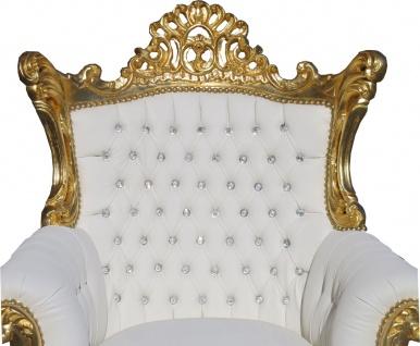 Casa Padrino Barock Sessel Al Capone Weiß / Gold mit Bling Bling Glitzersteinen - Antik Stil Wohnzimmer Möbel - Vorschau 2