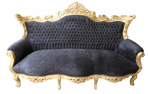 Casa Padrino Barock Sofa Master Schwarz/Gold