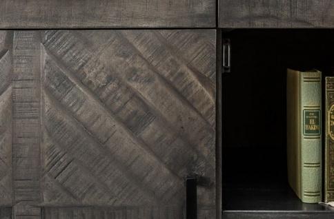 Casa Padrino Designer Massivholz Sideboard Grau 160 x 50 x H. 80 cm - Wohnzimmerschrank mit 3 Türen und 3 Schubladen - Wohnzimmermöbel - Vorschau 4