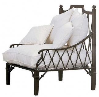 Casa Padrino Luxus Jugendstil Sessel Braun / Cremefarben 90 x 90 x H. 115 cm - Handgeschmiedeter Schmiedeeisen Sessel mit Kissen - Wohnzimmer Sessel - Garten Sessel - Terrassen Sessel - Luxus Qualität