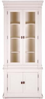 Casa Padrino Landhausstil Vitrinenschrank Antik Weiß 100 x 50 x H. 242 cm - Handgefertigte Shabby Chic Vitrine