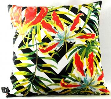 Casa Padrino Luxus Deko Kissen Detroit Plants Mehrfarbig 45 x 45 cm - Feinster Samtstoff - Wohnzimmer Kissen