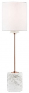 Casa Padrino Luxus Tischleuchte Kupfer / Weiß Ø 15, 9 x H. 55, 9 cm - Moderne runde Tischlampe mit Lampenschirm aus Kunstseide und Marmorsockel