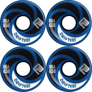 Flying Wheels Longboard Profi Wheels Drifters 65mm / 86a Blau abgerundet + angeraute Lauffläche - Longboard Cruiser Wheel Set (4 Rollen) Slide Rollen