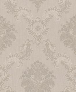Casa Padrino Barock Textiltapete Creme / Grau 10, 05 x 0, 53 m - Hochwertige Wohnzimmer Tapete im Barockstil