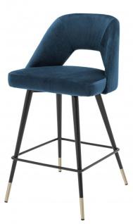 Casa Padrino Luxus Barstuhl Blau / Schwarz 50 x 50 x H. 90 cm - Luxus Barhocker mit Rückenlehne