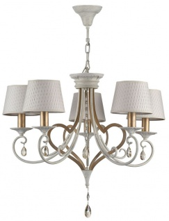 Casa Padrino Barock Kristall Kronleuchter 5 Flammig Weiß / Gold Ø 65 H. 57 cm - Barockstil Möbel