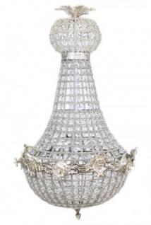 Casa Padrino Barock Kronleuchter Silber mit Glaskristallen 75 x 40 cm Antik Stil - Möbel Lüster Leuchter Hängeleuchte Hängelampe