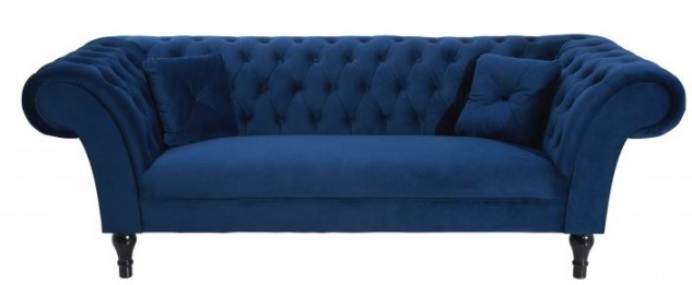 Casa Padrino Chesterfield Sofa in Blau 225 x 90 x H. 79 cm - Designer Chesterfield Sofa