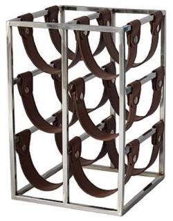 Casa Padrino Luxus Weinflaschenhalter Silber / Braun 26 x 28 x H. 39 cm - Kleines Weinregal für 6 Flaschen