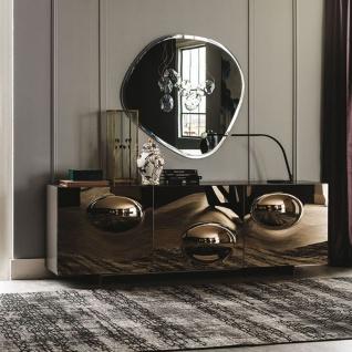Casa Padrino Luxus Designer Sideboard Graphit Matt / Bronzefarben 200 x 50 x H. 73 cm - Moderner Massivholz Schrank mit 3 verspiegelten Türen - Luxus Möbel