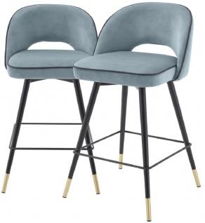 Casa Padrino Luxus Barstuhl Set Blau / Schwarz / Messingfarben 51 x 52 x H. 92, 5 cm - Barstühle mit drehbarer Sitzfläche und edlem Samtsoff - Luxus Bar Möbel