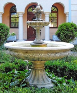 Casa Padrino Barock Gartenbrunnen / Springbrunnen Ø 150 x H. 190 cm - Gartendekoration im Barockstil
