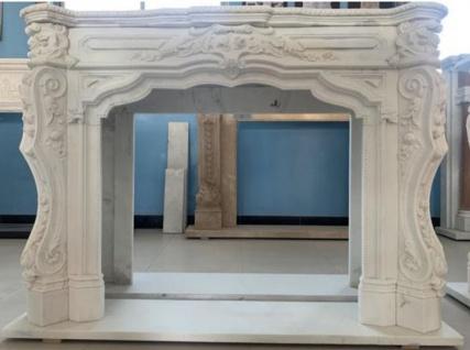 Casa Padrino Luxus Barock Kaminumrandung Weiß 170 x 35 x H. 123 cm - Prunkvolle Kaminumrandung aus hochwertigem Marmor - Barock Deko Accessoires
