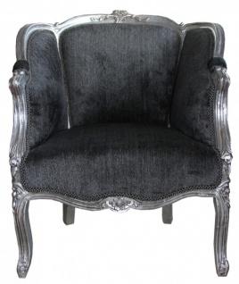 Casa Padrino Barock Sessel Grau / Silber - Vorschau 1