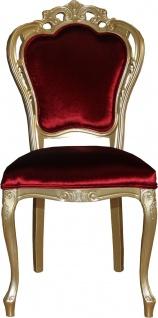 Casa Padrino Luxus Barock Esszimmer Stuhl in Bordeauxrot/Gold - Designer Stuhl - Luxus Qualität