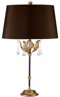 Casa Padrino Barock Tischleuchte Bronze / Antik Gold Ø 43 x H. 72 cm - Elegante Schreibtischleuchte mit handgefertigten Stahl Eichenblättern und dekorativen Glastropfen - Barock Leuchten