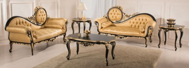 Casa Padrino Luxus Barock Wohnzimmer Set Gold / Schwarz - 2 Sofas & 1 Couchtisch & 2 Beistelltische - Wohnzimmermöbel im Barockstil - Edle Barock Möbel