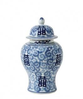 Casa Padrino Luxus Keramik Vase mit Deckel Blau Durchmesser 27 x H. 48 cm - Luxus Hotel Vase