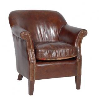 Casa Padrino Luxus Echtleder Vintage Sessel Cigar Braun Mod2 - Leder Sessel Art Deco Lounge