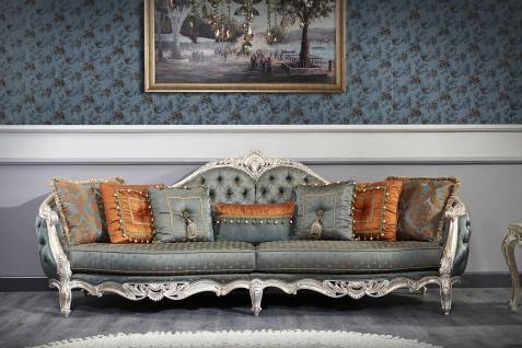 Casa Padrino Luxus Barock Wohnzimmer Set - 1 Chesterfield Sofa & 1 Chesterfield Thron Sessel & 1 Beistelltisch - Barock Wohnzimmermöbel - Vorschau 2
