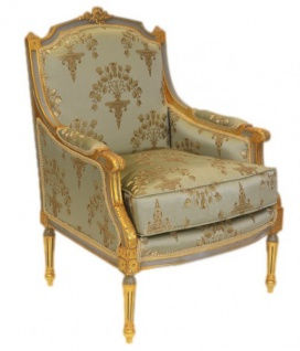Casa Padrino Barock Lounge Thron Sessel Empire Jadegrün Muster / Gold - Ohren Sessel - Ohrensessel Tron Stuhl