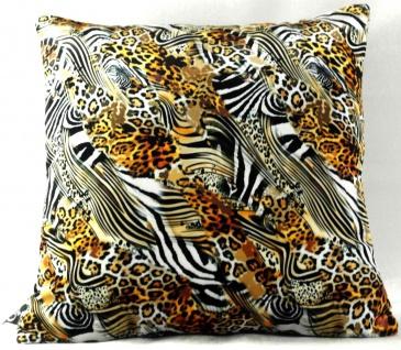 Casa Padrino Luxus Deko Kissen Nevada Leopard / Zebra 45 x 45 cm - Feinster Samtstoff - Wohnzimmer Kissen
