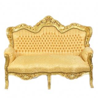 Casa Padrino Barock 2-er Sofa King Gold Muster / Gold - Barock Möbel