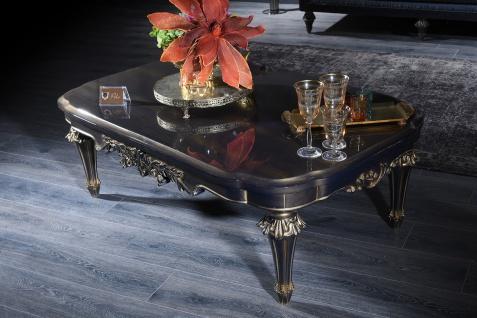 Casa Padrino Luxus Barock Couchtisch Blau / Gold / Schwarz 131 x 85 x H. 45 cm - Wohnzimmertisch im Barockstil