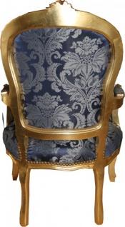 Casa Padrino Barock Salon Stuhl Royal Blau Muster / Gold - Möbel Lounge Hotel - Vorschau 5